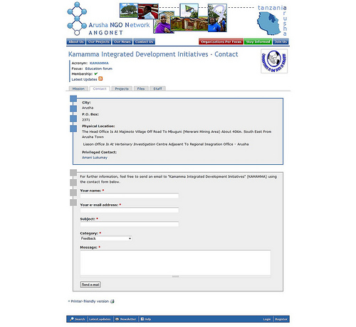 Organization contact page of Kamamma Integrated Development Initiatives